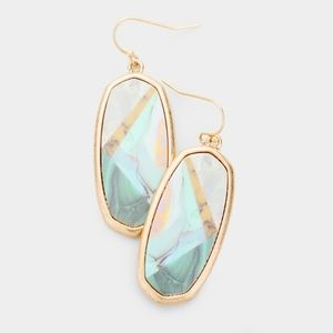 Teal and gold geometric earrings